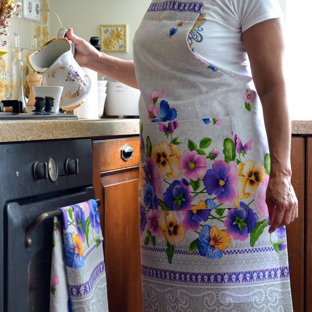 Купить кухонный фартук и полотенце в украинском стиле с фиалками, ручная работа, комплект