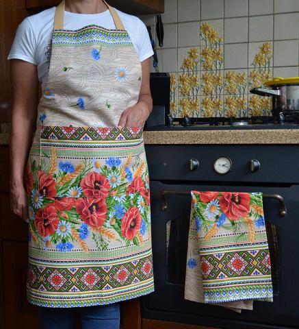 Купить кухонный фартук и полотенце в украинском стиле с маками и ромашками, ручная работа, комплект