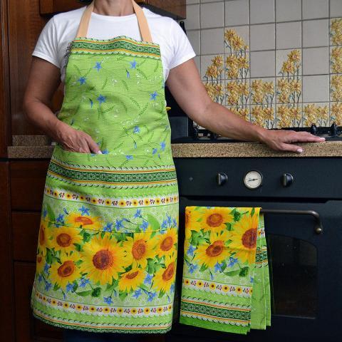 Купить кухонный фартук и полотенце в украинском стиле с подсолнухами, ручная работа, комплект