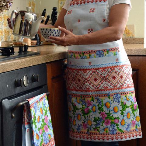 Купить кухонный фартук и полотенце в украинском стиле с ромашками, ручная работа, комплект
