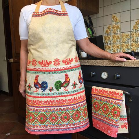 Купить кухонный фартук и полотенце в украинском стиле с петушками, ручная работа, комплект